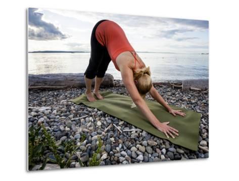 Downward Dog Yoga Pose on the Beach of Lincoln Park - West Seattle, Washington-Dan Holz-Metal Print