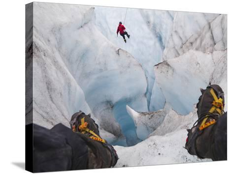 Ice Climbing-Ethan Welty-Stretched Canvas Print