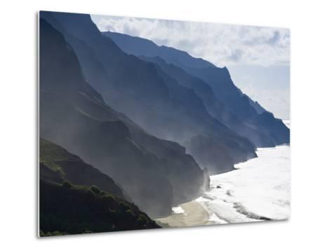 The Fluted Ridges of the Na Pali Coast Above the Crashing Surf on the North Shore of Kauai, Hawaii.-Sergio Ballivian-Metal Print