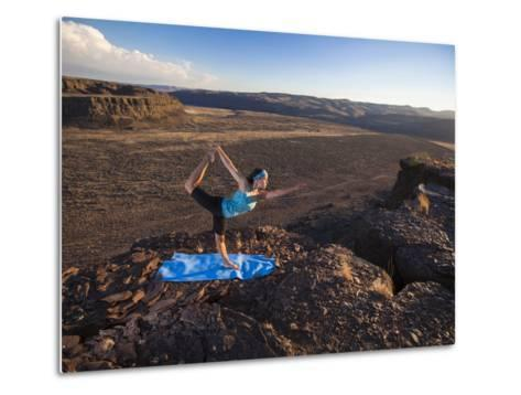 Dancer Pose During an Evening Outdoor Yoga Session at the Frenchman-Coulee in Central Washington.-Ben Herndon-Metal Print