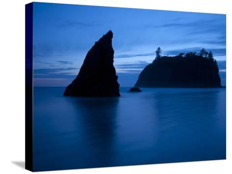 Olympic National Park, Wa: Sea Stacks Get Wrapped by the Incoming Tide-Brad Beck-Stretched Canvas Print