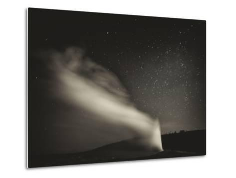 Old Faithful Geyer after Dark at Yellowstone National Park-Rebecca Gaal-Metal Print