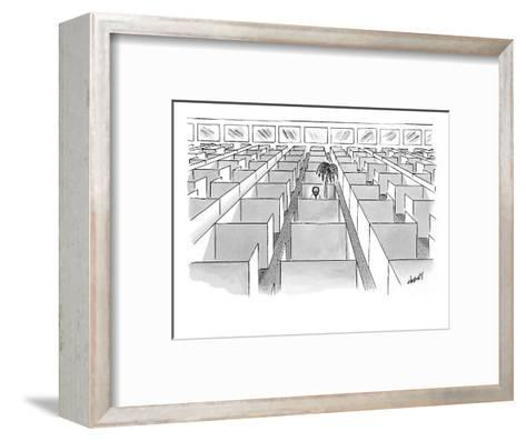 A man sits next to a palm tree in the only occupied cubicle in an office. - New Yorker Cartoon-Tom Cheney-Framed Art Print