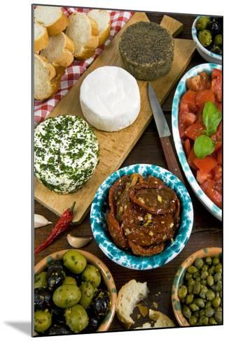 Maltese Appetizer Gbejniet, Capers, Tomatoes, Olives, Maltese Cuisine, Malta-Nico Tondini-Mounted Photographic Print