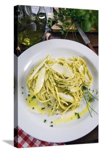 Spaghetti with Herbs, Cuisine-Nico Tondini-Stretched Canvas Print