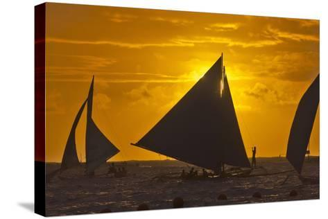 Sailing in the Ocean at Sunset, Boracay Island, Aklan Province, Philippines-Keren Su-Stretched Canvas Print