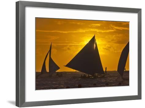 Sailing in the Ocean at Sunset, Boracay Island, Aklan Province, Philippines-Keren Su-Framed Art Print