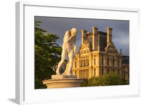 Statue in Jardin Des Tuileries with Musee Du Louvre Beyond, Paris, France-Brian Jannsen-Framed Art Print