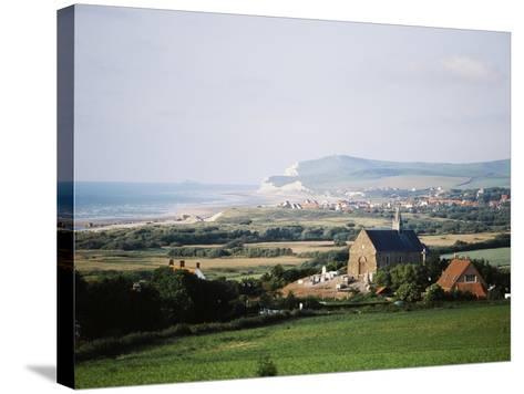 View of Houses Along Coastline, Pas-De-Calais, France-David Barnes-Stretched Canvas Print