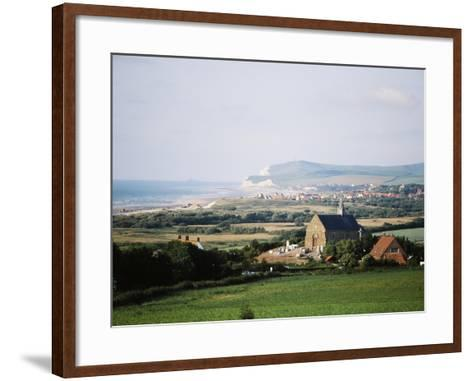 View of Houses Along Coastline, Pas-De-Calais, France-David Barnes-Framed Art Print