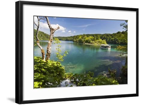 Visitors Taking a Cruise on Lake Kozjak, Plitvice Lakes, Plitvicka Jezera, Croatia-Martin Zwick-Framed Art Print