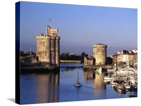 Boats, Vieux Port, Tour Saint-Nicolas, Tour De La Chaine, La Rochelle, France-David Barnes-Stretched Canvas Print