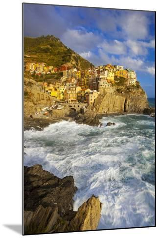 Swirling Ocean at the Foot of Manarola in the Cinque Terre, Liguria Italy-Brian Jannsen-Mounted Photographic Print