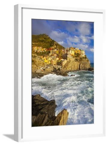 Swirling Ocean at the Foot of Manarola in the Cinque Terre, Liguria Italy-Brian Jannsen-Framed Art Print