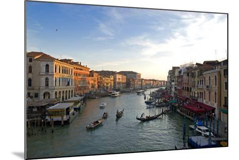 Bustling Riverfront Along the Grand Canal in Venice, Italy-David Noyes-Mounted Photographic Print