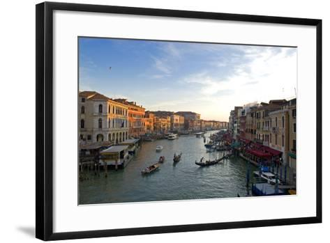 Bustling Riverfront Along the Grand Canal in Venice, Italy-David Noyes-Framed Art Print