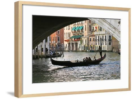 Tourist in a Gondola as They Pass under the Rialto Bridge, Venice, Italy-David Noyes-Framed Art Print