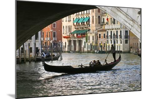 Tourist in a Gondola as They Pass under the Rialto Bridge, Venice, Italy-David Noyes-Mounted Photographic Print