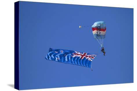 Rnzaf Sky Diving, New Zealand Flag, Warbirds over Wanaka, South Island New Zealand-David Wall-Stretched Canvas Print