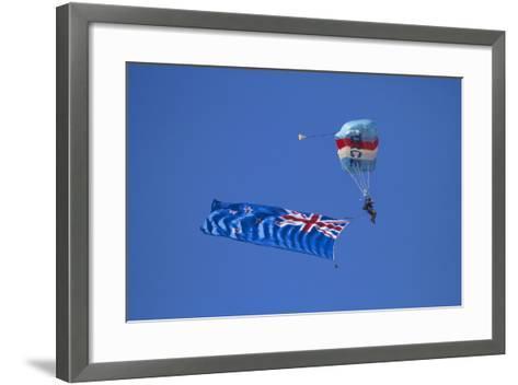Rnzaf Sky Diving, New Zealand Flag, Warbirds over Wanaka, South Island New Zealand-David Wall-Framed Art Print
