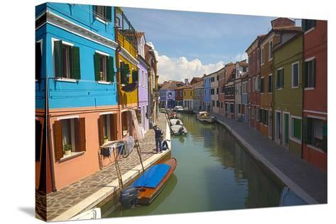 Bright Colored Homes Along the Canal, Burano, Italy-Terry Eggers-Stretched Canvas Print
