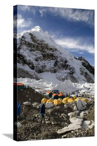 Tents of Mountaineers Scattered Along Khumbu Glacier, Base Camp, Mt Everest, Nepal-David Noyes-Stretched Canvas Print
