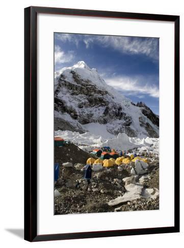 Tents of Mountaineers Scattered Along Khumbu Glacier, Base Camp, Mt Everest, Nepal-David Noyes-Framed Art Print