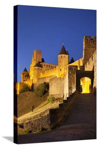 Twilight, Fortification, La Cite Carcassonne, Languedoc-Roussillon, France-Brian Jannsen-Stretched Canvas Print