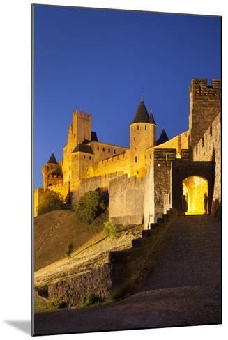Twilight, Fortification, La Cite Carcassonne, Languedoc-Roussillon, France-Brian Jannsen-Mounted Photographic Print