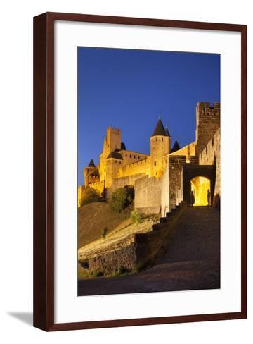 Twilight, Fortification, La Cite Carcassonne, Languedoc-Roussillon, France-Brian Jannsen-Framed Art Print