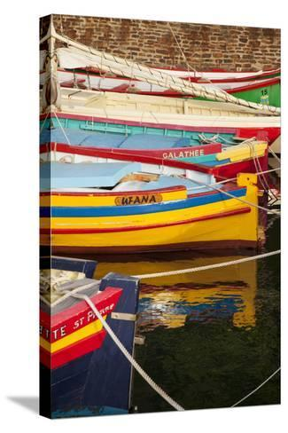 Colorful Sailboats in the Small Harbor of Collioure, Languedoc-Roussillon, France-Brian Jannsen-Stretched Canvas Print