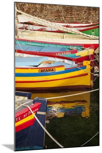 Colorful Sailboats in the Small Harbor of Collioure, Languedoc-Roussillon, France-Brian Jannsen-Mounted Photographic Print