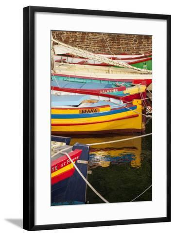 Colorful Sailboats in the Small Harbor of Collioure, Languedoc-Roussillon, France-Brian Jannsen-Framed Art Print