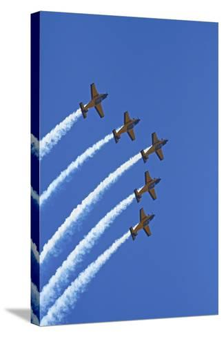 The Red Checkers Aerobatic Display Team with CT-4B Airtrainers-David Wall-Stretched Canvas Print