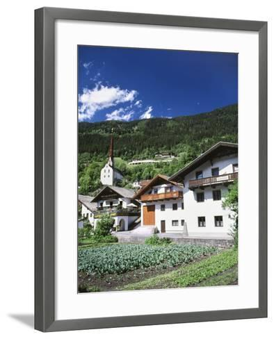 View of Town, Churches and Houses, Oetz, Tyrol, Austria-Walter Bibikow-Framed Art Print