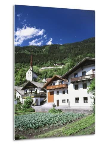 View of Town, Churches and Houses, Oetz, Tyrol, Austria-Walter Bibikow-Metal Print
