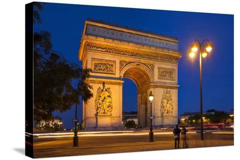 Twilight at Arch De Triomphe, Paris, France-Brian Jannsen-Stretched Canvas Print