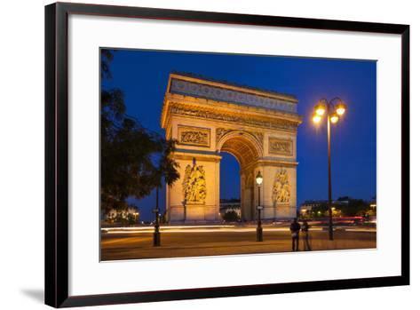 Twilight at Arch De Triomphe, Paris, France-Brian Jannsen-Framed Art Print