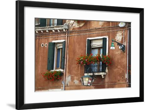 Street Scenes from Venice with Flower Boxes, Venice, Italy-Terry Eggers-Framed Art Print