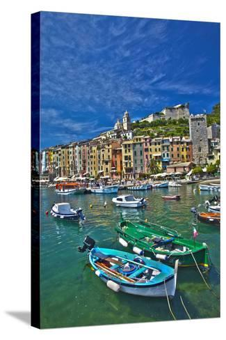 Small Boats at Anchor in Harbor, Portovenere, La Spezia, Italy-Terry Eggers-Stretched Canvas Print