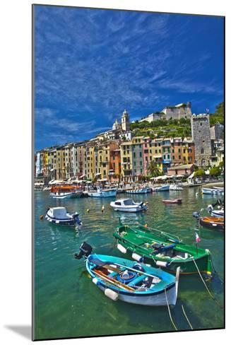 Small Boats at Anchor in Harbor, Portovenere, La Spezia, Italy-Terry Eggers-Mounted Photographic Print