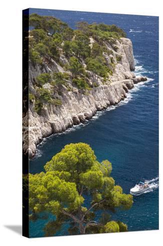 Tour Boat, Calanques Near Cassis, Bouches-Du-Rhone, Cote d'Azur, Provence, France-Brian Jannsen-Stretched Canvas Print