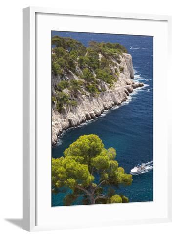 Tour Boat, Calanques Near Cassis, Bouches-Du-Rhone, Cote d'Azur, Provence, France-Brian Jannsen-Framed Art Print