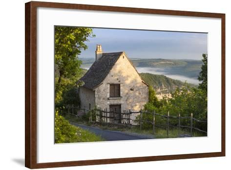 Morning Mist Along River Lot, Cottage in Saint Cirq Lapopie, Midi-Pyrenees France-Brian Jannsen-Framed Art Print