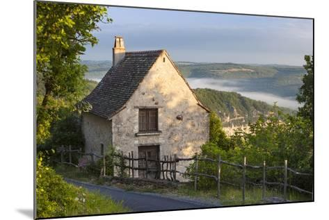 Morning Mist Along River Lot, Cottage in Saint Cirq Lapopie, Midi-Pyrenees France-Brian Jannsen-Mounted Photographic Print
