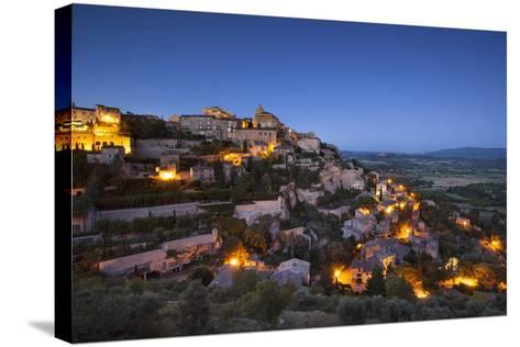 Twilight over Medieval Village of Gordes, Provence, France-Brian Jannsen-Stretched Canvas Print