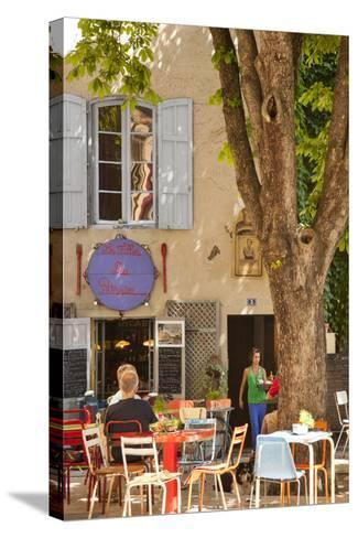 Outdoor Cafe in the Town of Saint Remy De-Provence, France-Brian Jannsen-Stretched Canvas Print