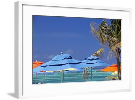 Umbrellas and Shade at Castaway Cay, Bahamas, Caribbean-Kymri Wilt-Framed Art Print