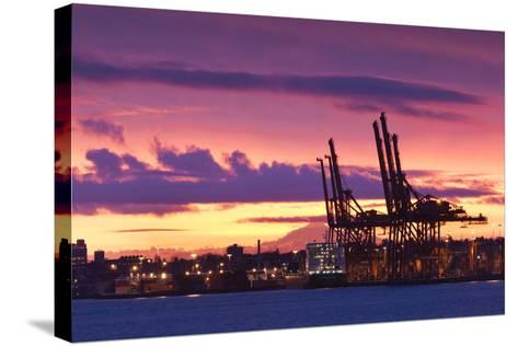 Cargo Cranes, Port of Vancouver, Vancouver, British Columbia, Canada-Walter Bibikow-Stretched Canvas Print
