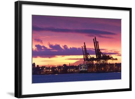 Cargo Cranes, Port of Vancouver, Vancouver, British Columbia, Canada-Walter Bibikow-Framed Art Print